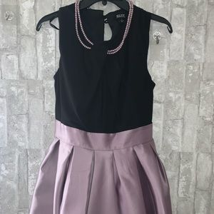 Elegant Satin lavender dress with pearl necklace💕
